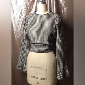 Zara split sleeve black and white gingham blouse